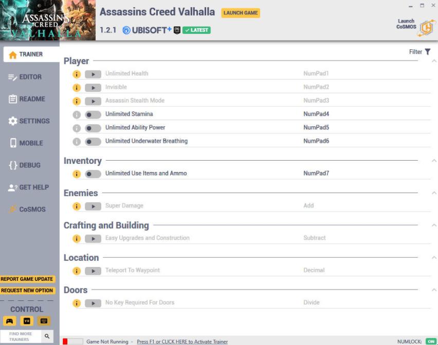 Assassin's Creed: Valhalla - Trainer +17 v1.2.1