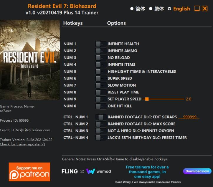 Resident Evil 7: Biohazard - Trainer +14 v1.0-v20210419