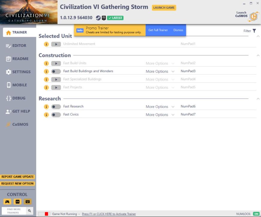 Sid Meier's Civilization 6: Trainer +19 v1.0.12.9 564030