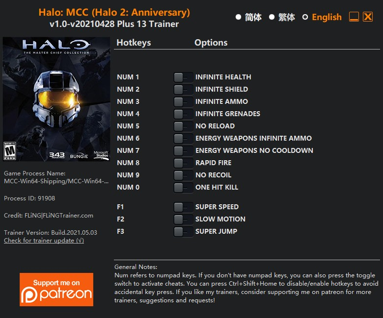 Halo 2: Anniversary): Trainer +13 v1.0