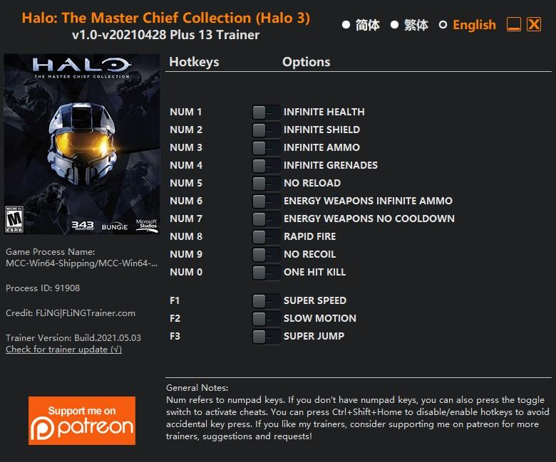 Halo 3) - Trainer +13 v1.0-v20210428