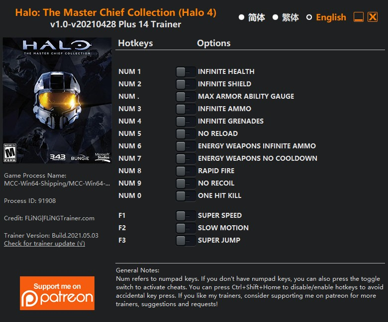 Halo: The Master Chief Collection (Halo 4) - Trainer +14 v1.0