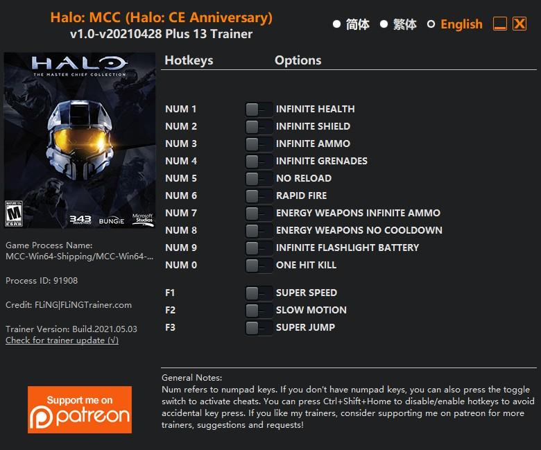 Halo: CE Anniversary) - Trainer +13 v1.0-v20210428